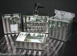 New bella lux 4 pc set glass mirror soap dispenser dish for Bella lux bathroom accessories uk