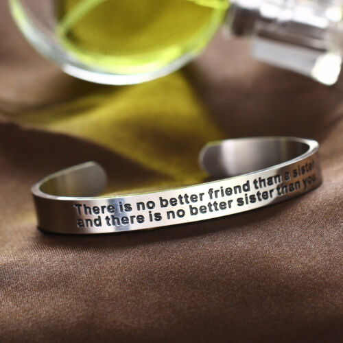 Inspirational Bracelet Cuff Open Bangle Engraved Stainless Steel Family Friends