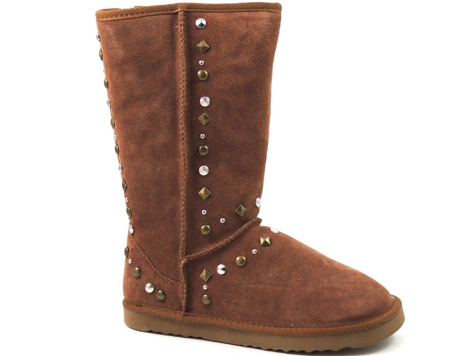 Style&co. Women's Bolted Snow, Winter Boots Tan Chestnut Leather Size 9 M