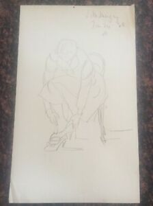Signed-1938-Lillian-Mingay-Pencil-Drawing-Female-Figure-37-putting-shoes-on