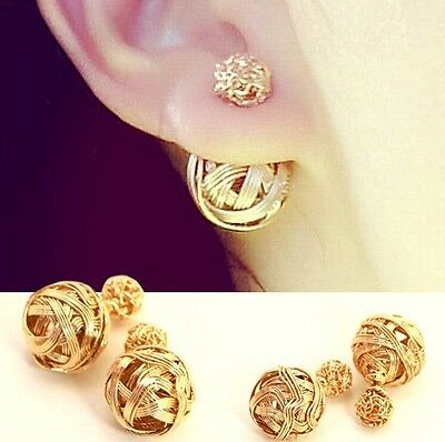 Vogue Womens Exotic Double Sides Two Hollowed Gold Plated Ball Studs Earrings