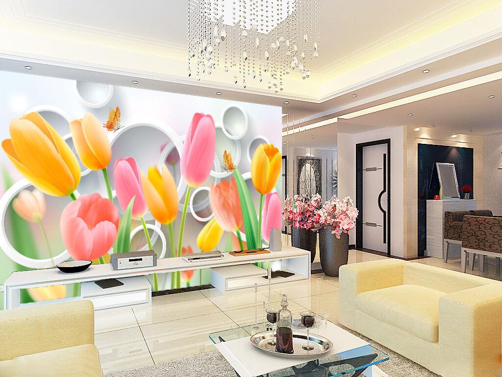 3D orange Pink Tulip 87 Wall Paper Decal Dercor Home Kids Nursery Mural  Home