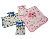 Teddy Baby Comforter Blanket Soft Toy Gift Blue Pink - 32 cm x 34 cm
