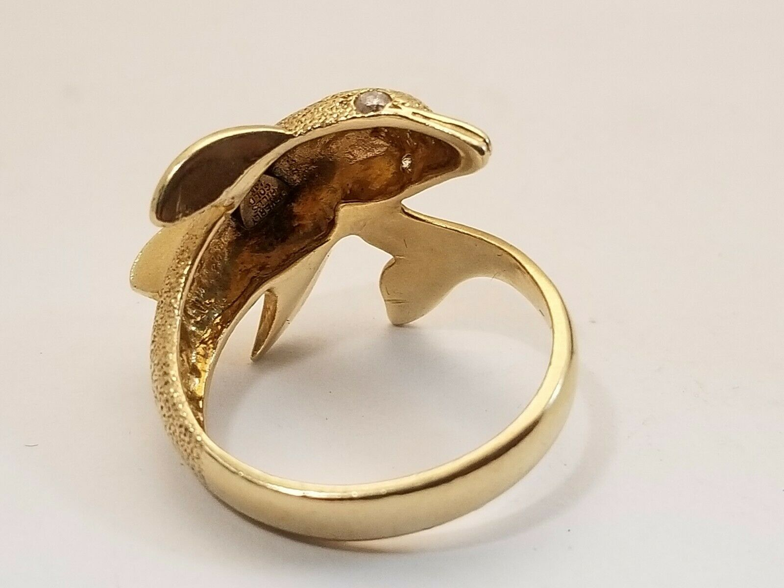 Details about  /Real 14kt With Rhodium Dolphin Ring S:6