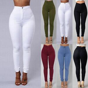 Women-Denim-Skinny-Leggings-Pants-High-Waist-Stretch-Jeans-Rose-Pencil-Trousers