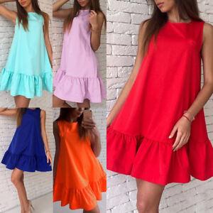 Women-Loose-Sleeveless-Mini-Short-Dress-Summer-Ruffle-Beach-A-Type-Dresses-S-2XL