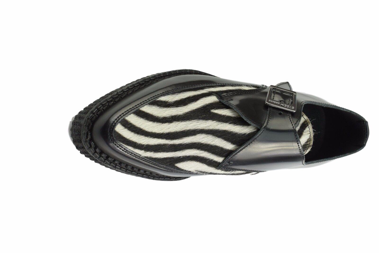 Scarpe di terra in acciaio in Pelle Pelle Pelle Nero Bianco Zebra Capelli Creepers Monk Buckle A Punta   lusso    Scolaro/Signora Scarpa  2cfd32