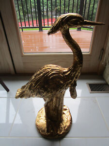 LARGE-STORK-CERAMIC-STATUE-ITALY-GOLD-PAINTED-25-X-16-X-9-034