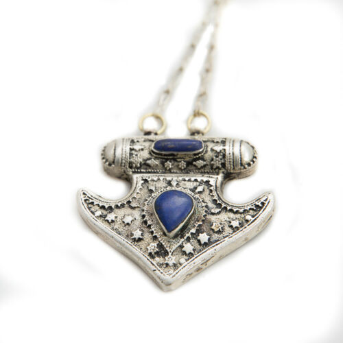 Bohenian Gypsy Tribal Colorful Metal Pendants with Chain Necklace in Lapis