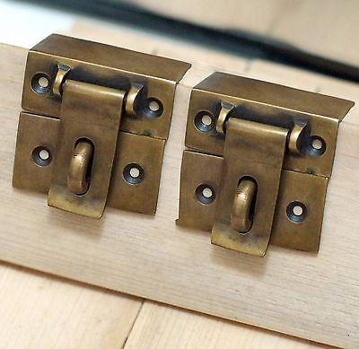 Set of 2 pcs Antique Vintage Square Flip SAFE Door Box LATCH Antique Solid Brass