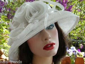 Sombrero Mujer para eventos Blanco Crema Ascot BODA hutball Gorro de ... b71d24a8cb0