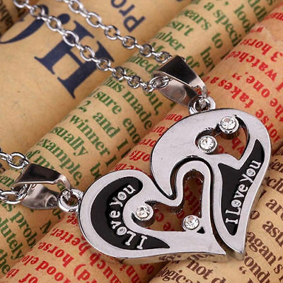 2pcs I Love You Heart Necklace Couples Lovers Best Friends Friendship Jewelry BF
