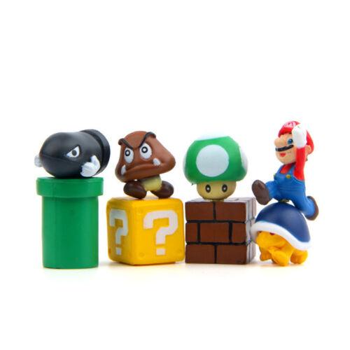 8PCS Super Mario Bros Game Scene Mini Figures Display Set Figurine Toy 3D Decor