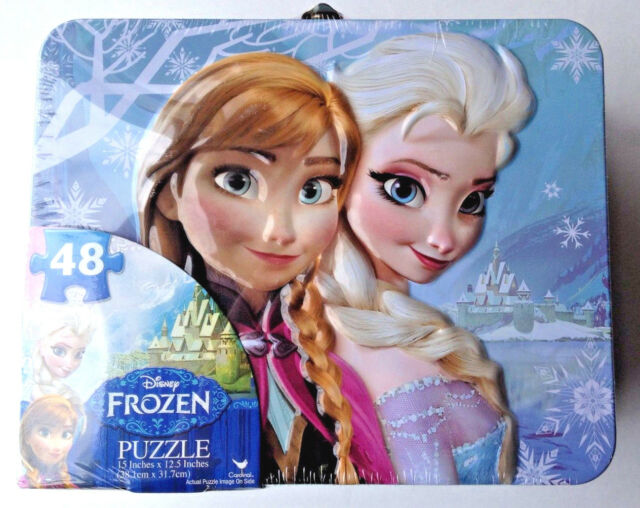 Disney Frozen Metal Lunchbox With Puzzle 48 Pieces 15 in. x 12.5 in. New