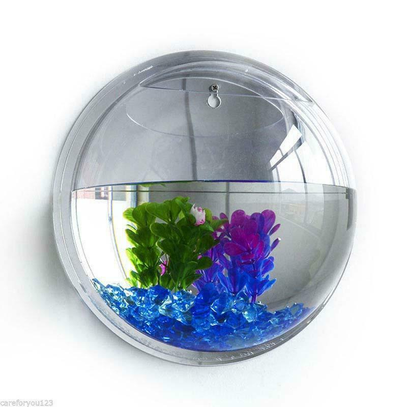 TOPINCN Wall Mount Fish Bowl Acrylic Transparent Hanging Fish Tank Vase Aquarium Plant Pot Bubble Aquarium Home Decoration