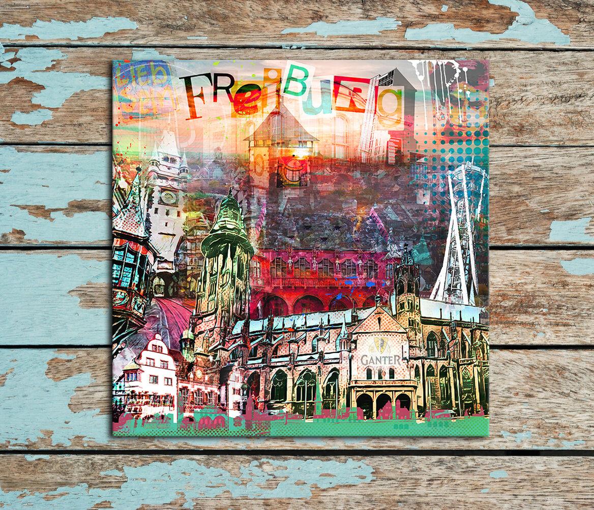MEIN BADEN  + Freiburg LEINWAND BILD + Vorab-SALE 80x80 cm + tolle GESCHENKIDEE