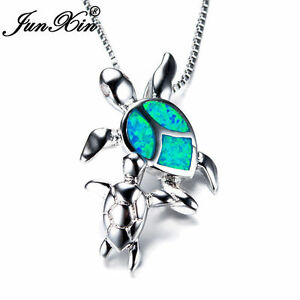 925-Silver-Mom-amp-Baby-Turtle-Blue-Fire-Opal-Pendant-Necklace-Womens-Jewelry-Gift