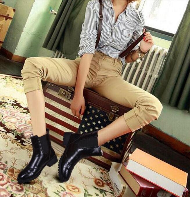 Bottes bottes confortable rangers femme talon 3.5 cm noir 8759