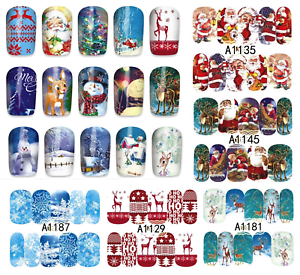 Nail-Art-Water-Transfer-Stickers-decorazione-NATALE-CHRISTMAS-Adesivi-Unghie