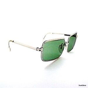 SALICE-occhiali-da-sole-vintage-70-039-s-SILVER-GREEN-CRYSTAL-LENSES-SUNGLASSES-NEW