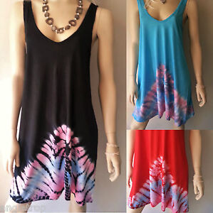 BALI-BOHO-TIE-DYE-T-SHIRT-SINGLET-SUMMER-DRESS-BEACH-SUN-COVERUP-SIZE-XS-S-M