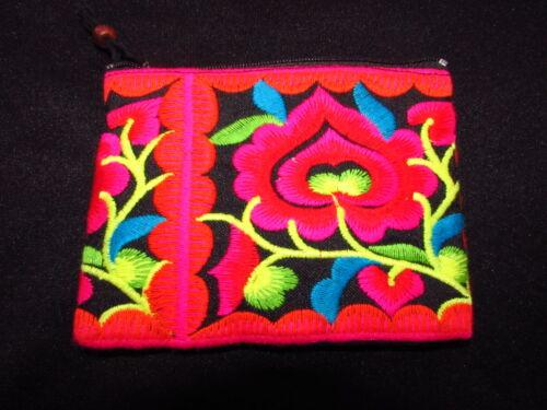 Ricamato brillante tribù Hmong Portamonete Portafoglio Colorata Fairtrade Floreale Thai