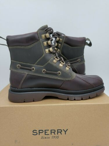 Sperry Top-Sider Mens Watertown Leather Duck Rain Boot Tan//Olive NEW Choose Size