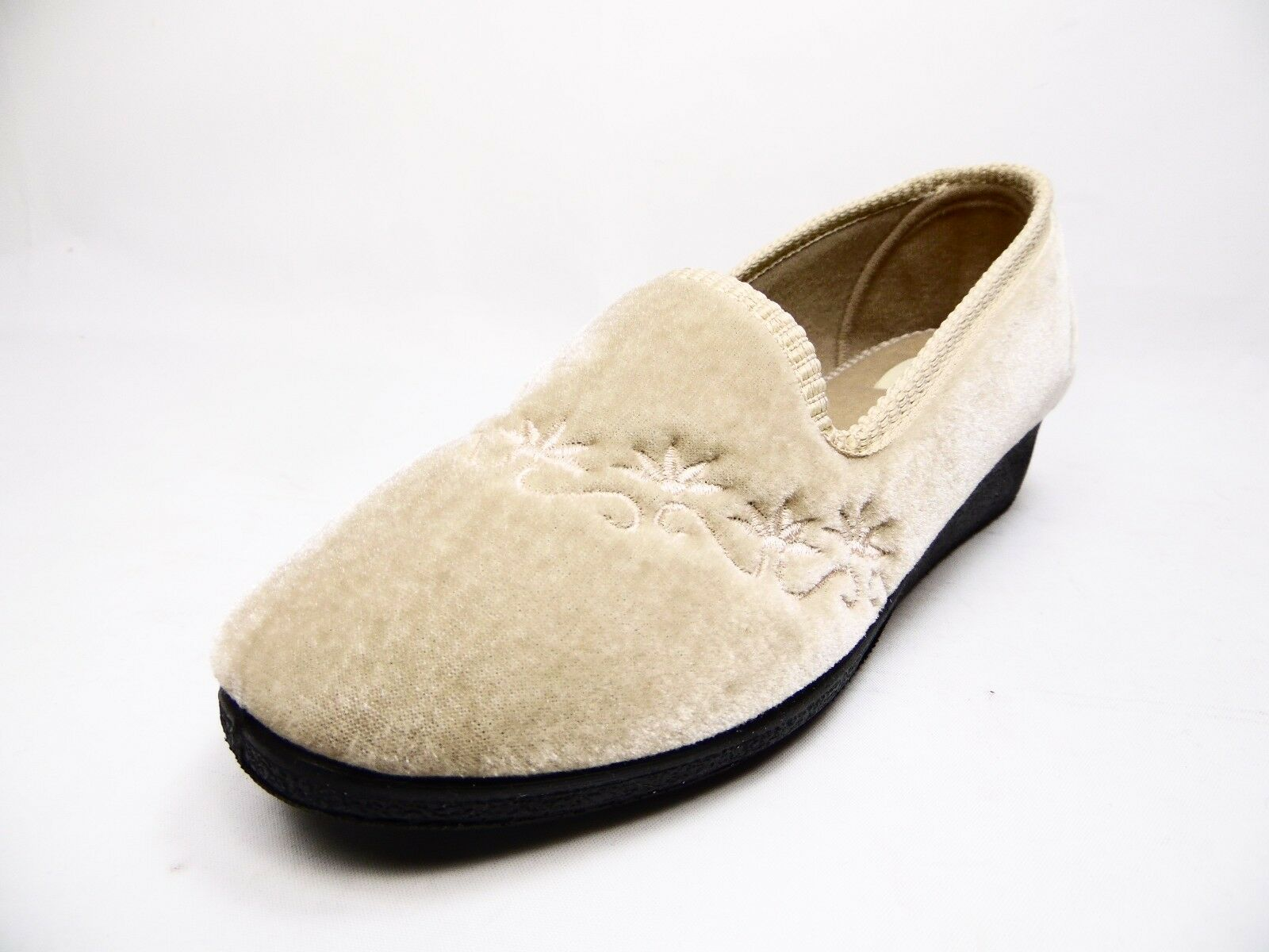 Spring Step Jolly-C Womens Embroidered Slippers Beige Size 40 (US:9)