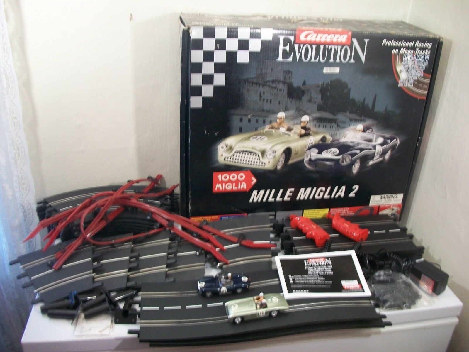 Carrera Evolution Mille Miglia 2 Slot Car Set 1 32 complet avec 4 voitures