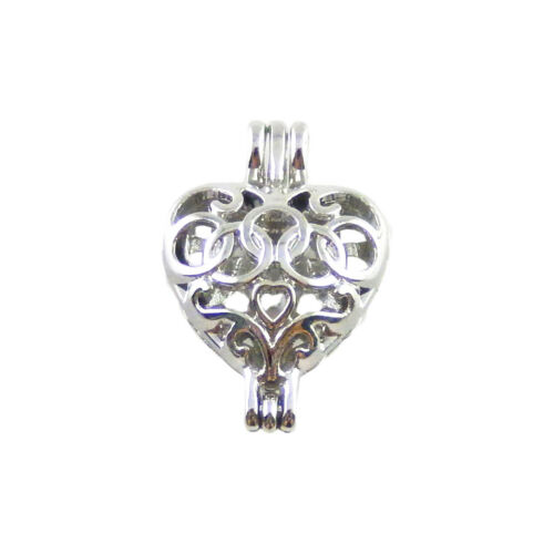 2 pcs Silver Plated Heart Shaped Locket Cage Charm 24x16x10 MM Pendant #53112