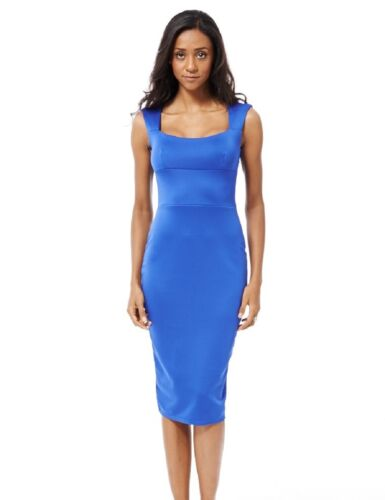 Ladies Dress Blue Bodycon Keyhole Back Party Outing Womens Dress Sizes:UK8-16