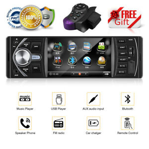 4'' HD Autoradio Stereo Radio 1DIN Bluetooth MP3 Lettore FM USB AUX Mani Libere