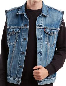 Levi-039-s-Men-039-s-Red-Tab-Button-Up-Denim-Jeans-Jayden-Trucker-Vest-Blue-728870013