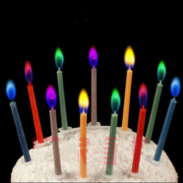 6X Colored Candles safe Flames Party Birthday Cake Decorations