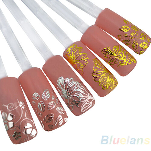 Pretty 3D Flower Nail Stickers Manicure Decals Hot Stamping French Nail Art DIY