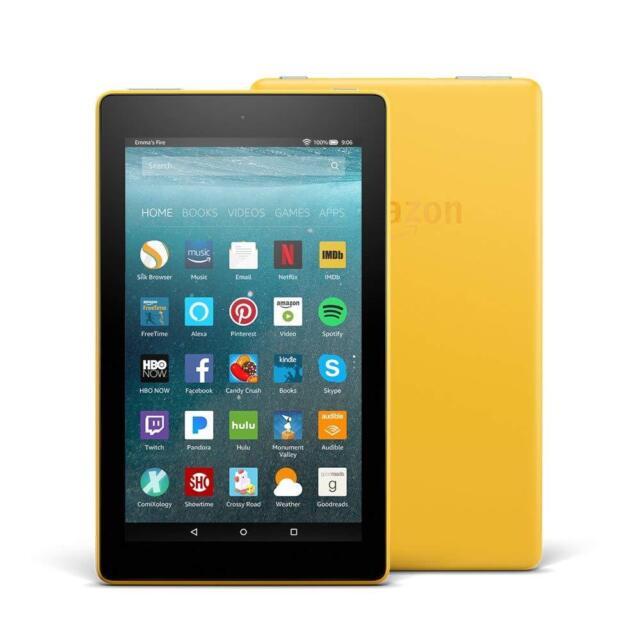 NEW AMAZON KINDLE FIRE 7 Yellow TABLET ALEXA/8GB LatestModel IPS Front/Rear Cam