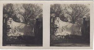 París Estatua Alfred de Musset Parque De Monceau Foto Estéreo Vintage Analógica