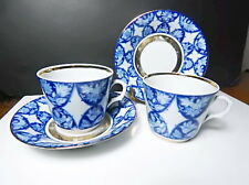 Lomonosov USSR Cup and Saucer, Blue and White, 2 Sets