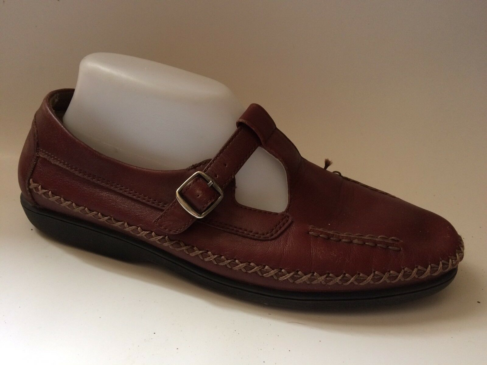 Propet W3205 Red Tan Leather T Strap Mary Jane Womens 9 D Wide Moc Loafers shoes