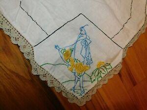 "Vintage linen table runner hand embroidered crochet edges purple flowers 42/""x15/"""