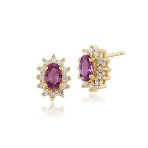 9ct-Gelbgold-Rosa-Saphir-amp-Diamant-Nieten-Ohrringe