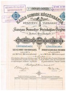 Kaschau-Somodier-Steinkohlen-Bergbau-AG-Budapest-1893-Interinsschein-5-Actien