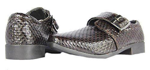 Boys Kids New Black Brown Buckle School Casual Formal Wedding Heel Shoes UK 13-2