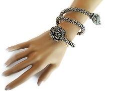 Gorgeous Dark Silver Tone Snake Chain Wraparound Bracelet Bangle Crystal Flower