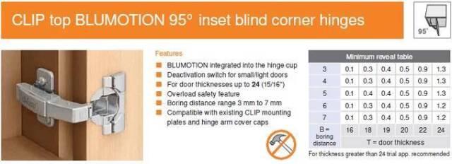 HINGE,BLUM,95 DEG CLIP TOP BLIND CORNER,W// BLUMOTION,PRESS IN B079B9580