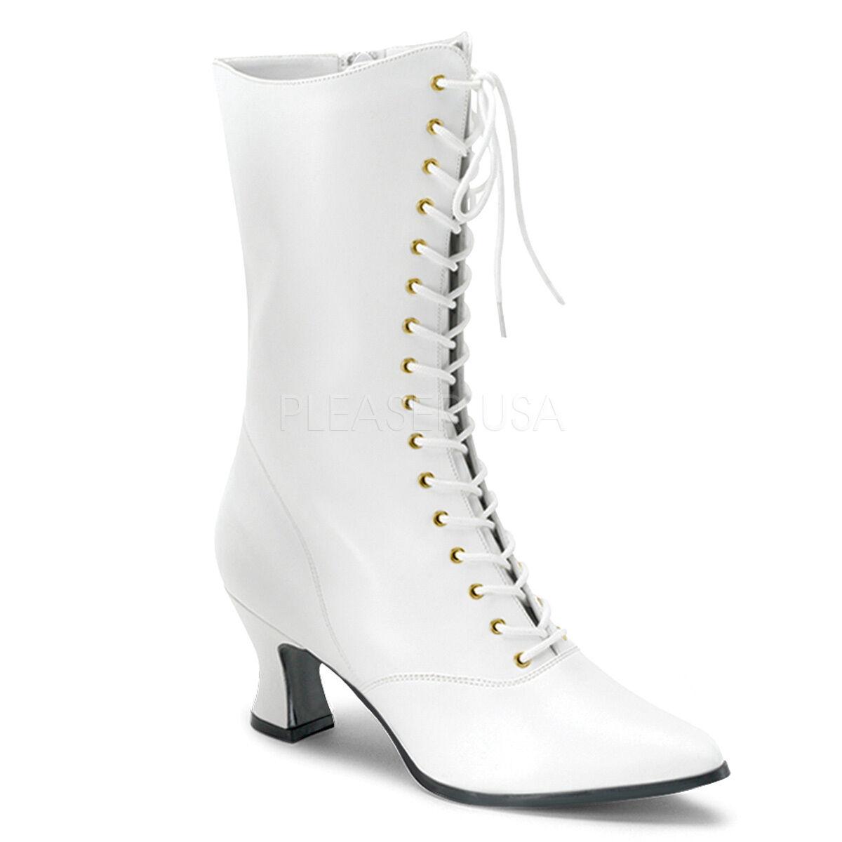 Antigua Boda abuela abuela abuela blancoo Victoriano Disfraz Mitad de Pantorrilla botas VIC120 W PU  oferta de tienda