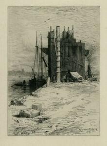 Coal-Pockets at New Bedford Mass. Original Etching R. Swain Gifford 1879