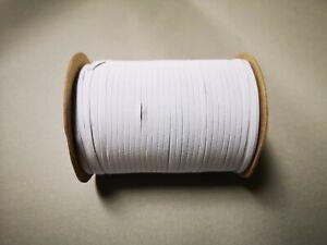 weiss 4 Meter 3 mm breit Gummilitze flach Gummiband Mundschutz ca