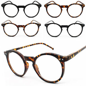 40cf3c370197 Round Frame Tortoise Black Clear Lens Glasses 60s Geek Nerd Men ...