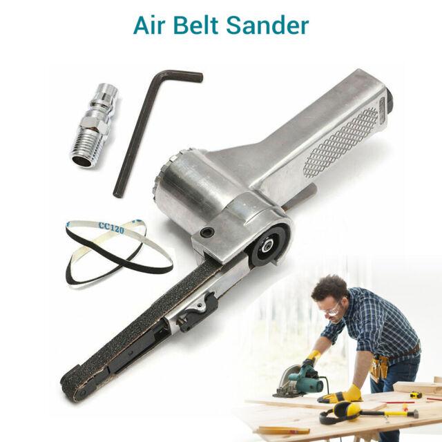 "3/8"" Air Belt Sander Grinding Machine Pneumatic Polisher Tool w/ 2pcs Belts Mini"
